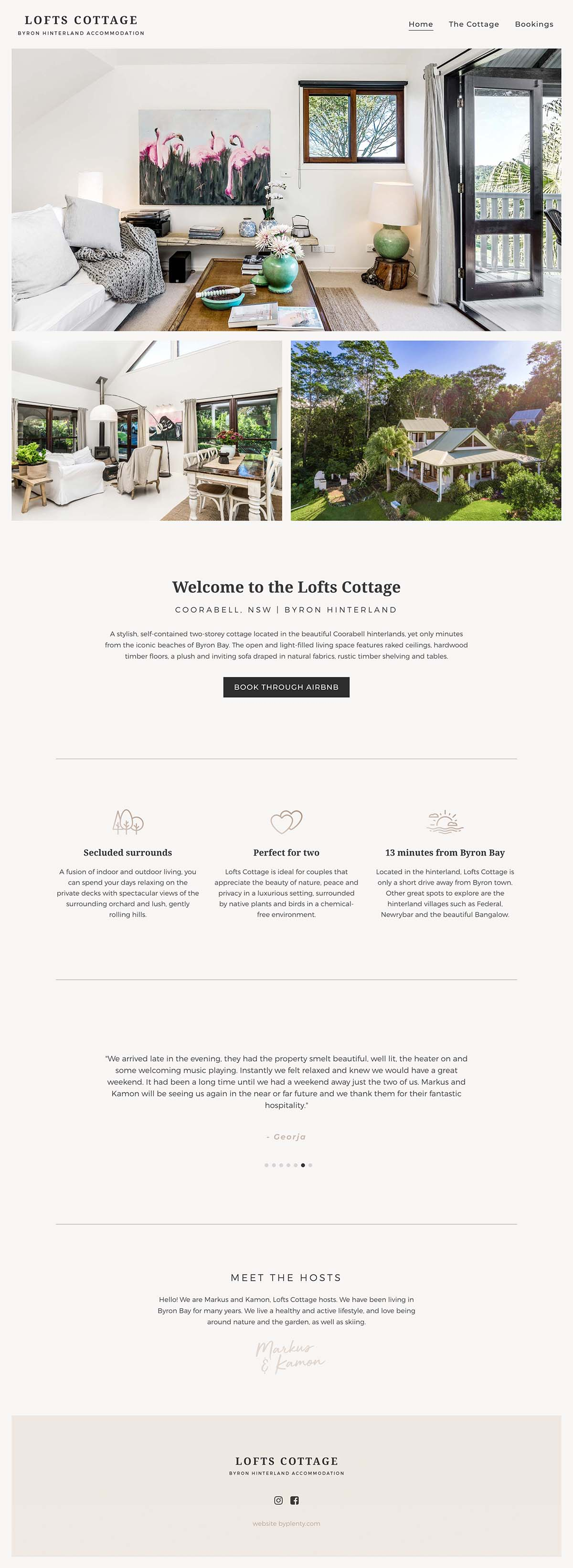 Lofts Cottage Website Design